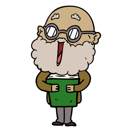cartoon joyful man with beard and book