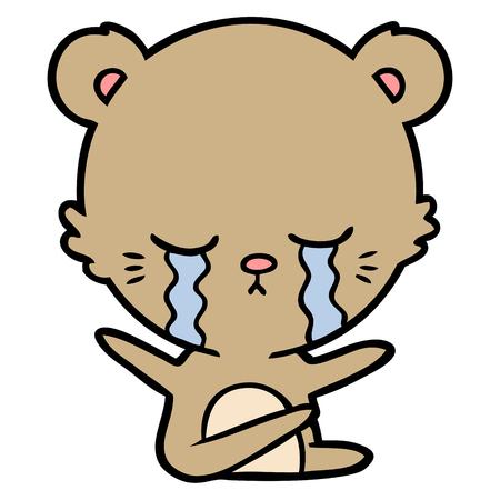 crying cartoon bear Vector illustration.