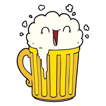 happy cartoon mug of beer Stock Vector - 94934043