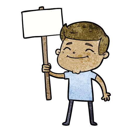 happy cartoon man with placard