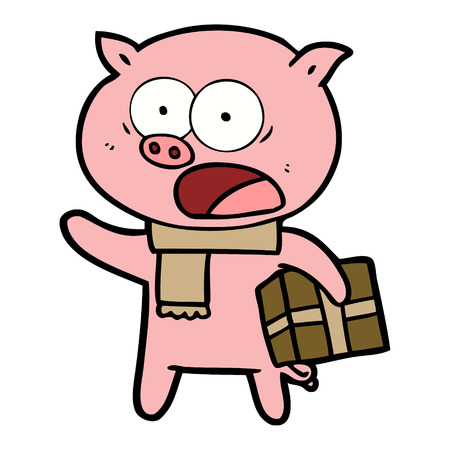 cartoon pig with christmas present Ilustrace