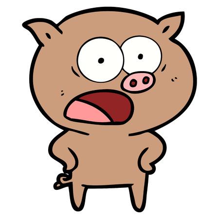 漫画豚叫ぶベクトルイラスト。  イラスト・ベクター素材