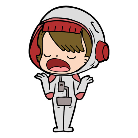 cartoon talking astronaut Vector illustration.