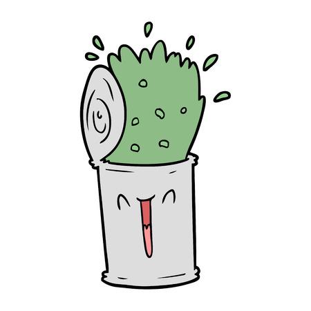 cartoon gelukkig exploderende soep kan Stock Illustratie