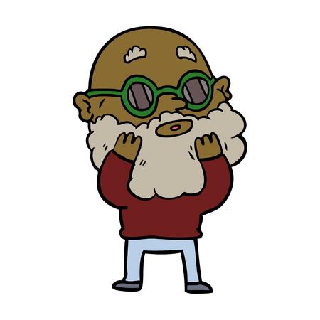 Uomo curioso dei cartoni animati con barba e occhiali da sole Archivio Fotografico - 94935091