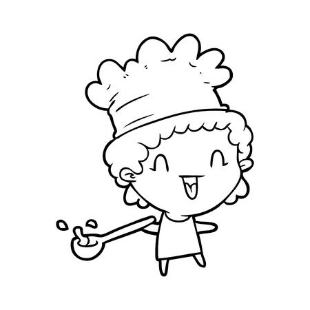 cute cartoon gelukkig chef-kok