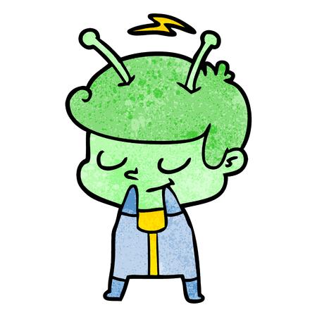 self conscious cartoon spaceman Çizim