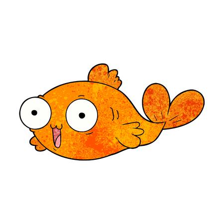 happy goldfish cartoon Vector Illustration