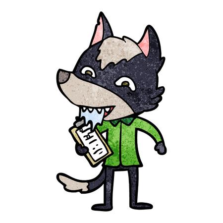 クリップボード付き漫画空腹オオカミ  イラスト・ベクター素材