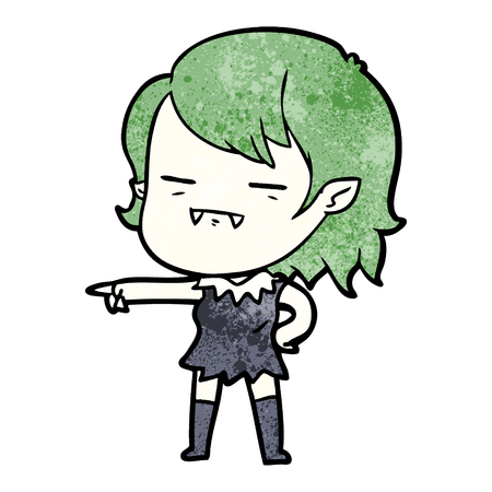 cartoon undead vampire girl pointing