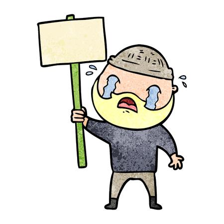 cartoon bearded protester crying Illustration