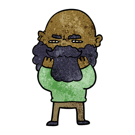 cartoon man with beard frowning checking his beard