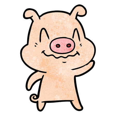 nervous cartoon pig Illusztráció