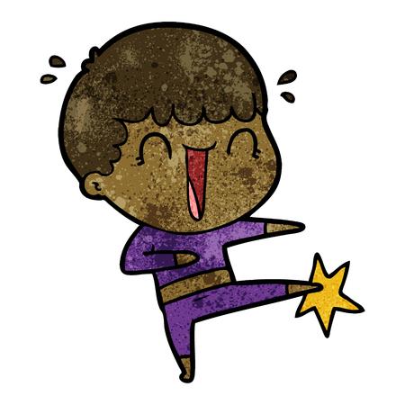 laughing cartoon man karate kicking