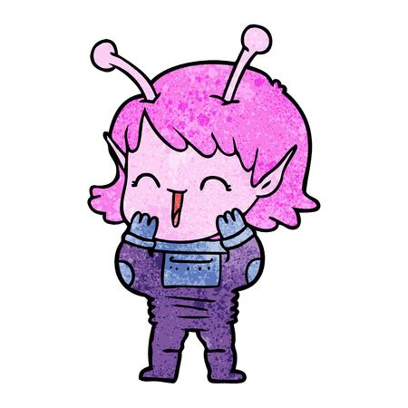 cartoon alien girl giggling