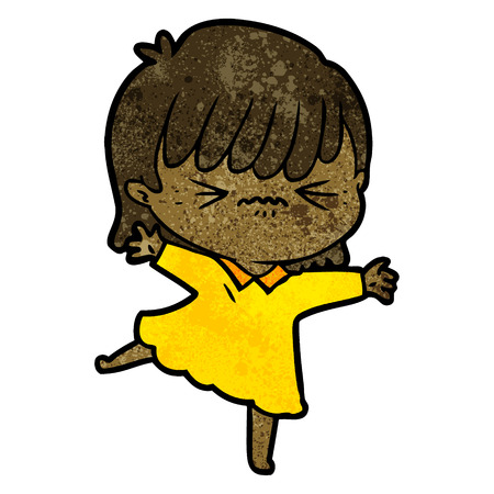 stressed out cartoon girl Ilustração