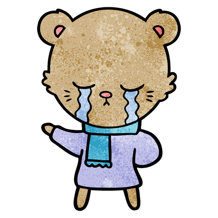 crying cartoon bear wearing winter clothes