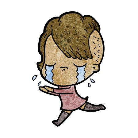 cartoon huilend meisje weg te rennen