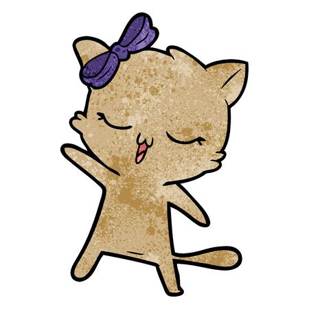 cartoon kat met strik op het hoofd