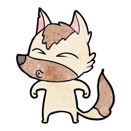 cartoon wolf whistling 向量圖像