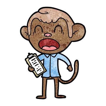 shouting cartoon monkey Ilustração