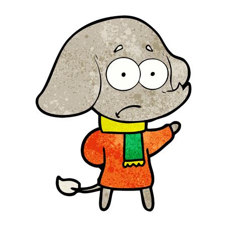 cartoon unsure elephant in scarf Ilustracja