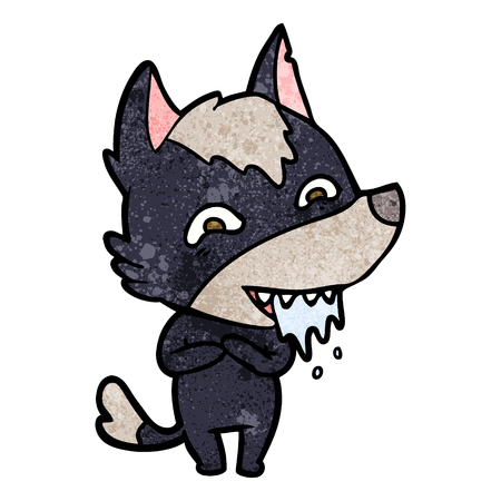 cartoon hungry wolf