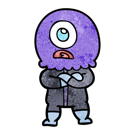 annoyed cartoon cyclops alien spaceman