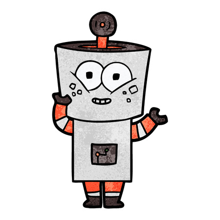 Happy Cartoon Roboter winkt Hallo Standard-Bild - 94963978