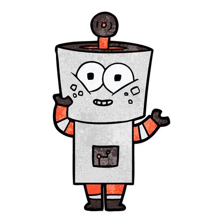 happy cartoon robot waving hello
