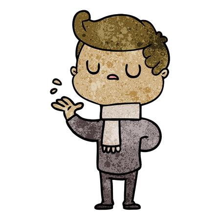 cartoon aloof man Illustration