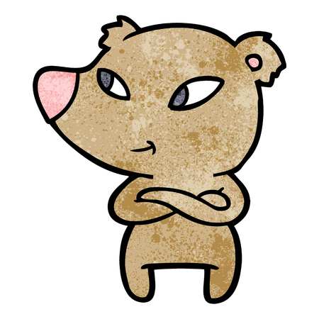 cute cartoon bear with crossed arms Illustration