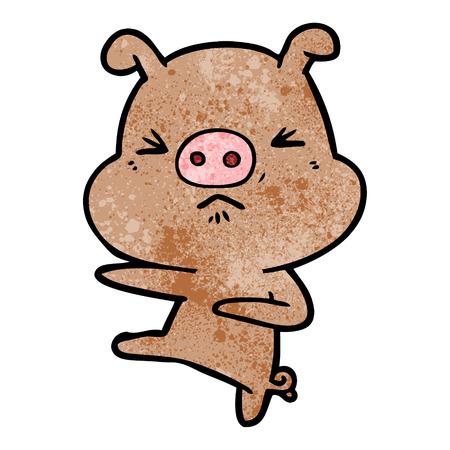 漫画怒っている豚が蹴り出す  イラスト・ベクター素材