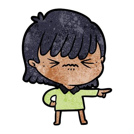 화난 만화 소녀 고발 일러스트