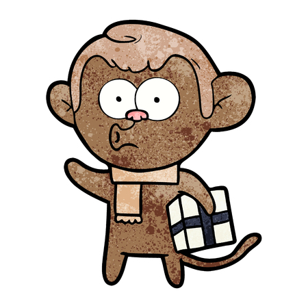 cartoon christmas monkey