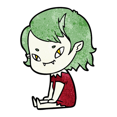 cartoon friendly vampire girl sat down