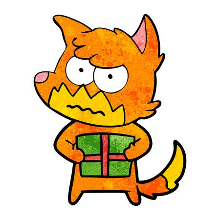 cartoon annoyed fox Иллюстрация