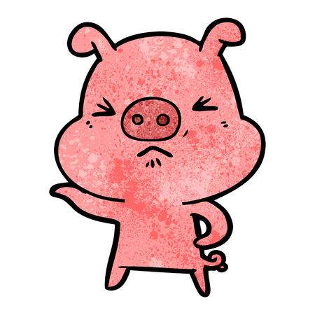 cartoon angry pig