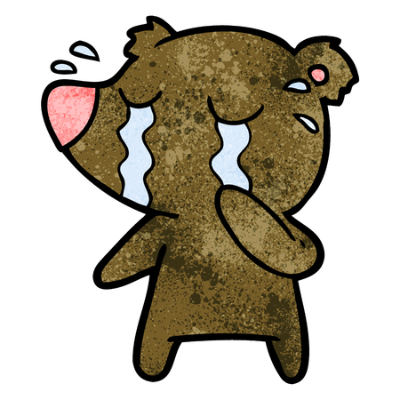 Cartoon crying bear Ilustrace