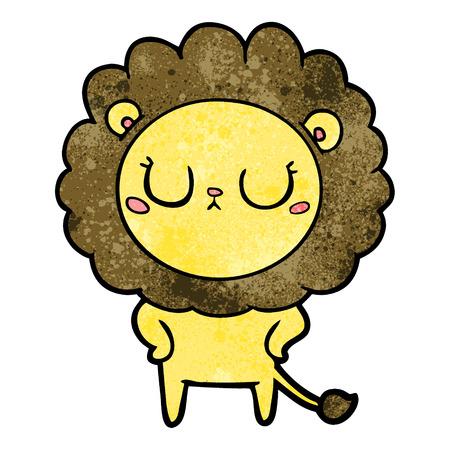 Cartoon lion closing his eyes