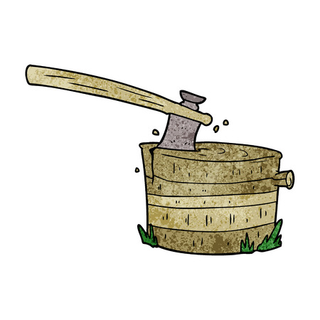 Cartoon tree stump with axe