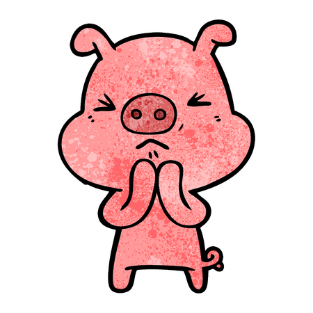 Cartoon grumpy pig Illustration
