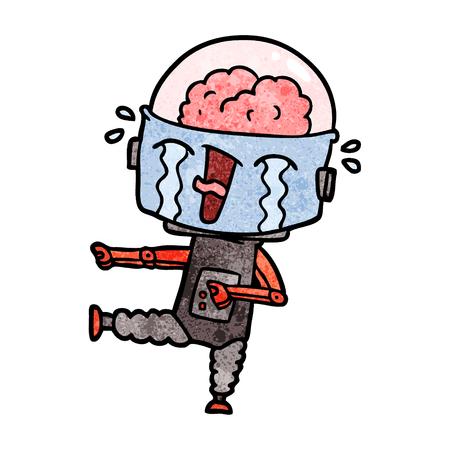 Cartoon huilende robot wijzen Stock Illustratie