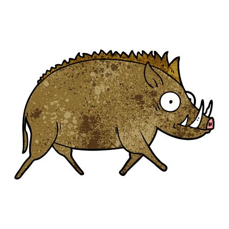 A cartoon of a wild boar on plain presentation. Illustration