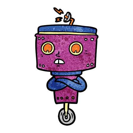 A cartoon of robot with crossed arms on plain presentation. Illustration