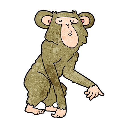 A cartoon of chimpanzee on plain presentation.