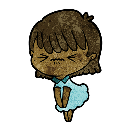 annoyed cartoon girl Vector illustration.