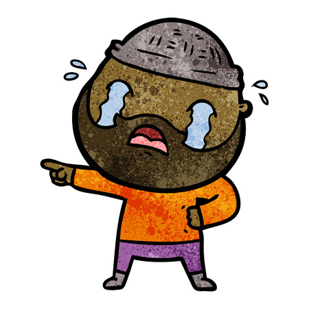 cartoon bearded man crying Illustration