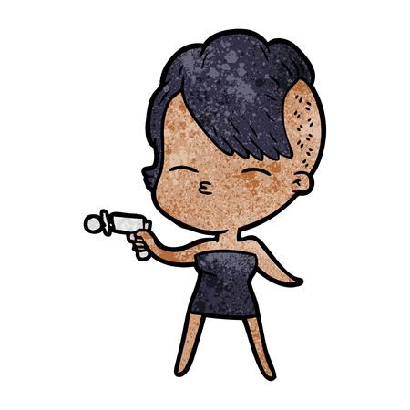 cartoon squinting girl pointing ray gun