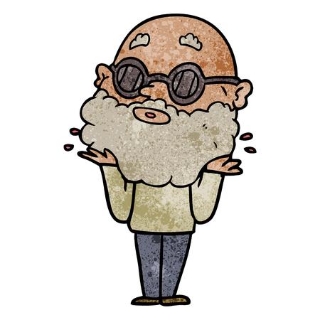 Uomo curioso dei cartoni animati con barba e occhiali da sole Archivio Fotografico - 94990608